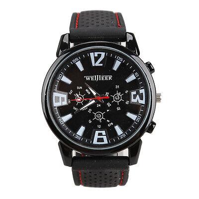 Luxury Mens Watches Quartz Stainless Steel Analog Silicone Sport Wrist Watch New