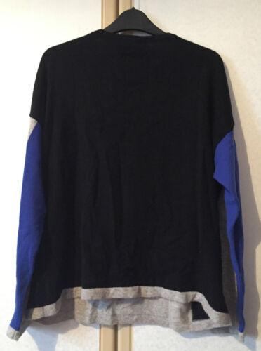 16 bleu M cachemire et Pull noir pur de gris femmes pour s en taille wpttv4O