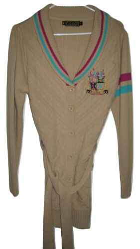 COOGI Womens 1X Beige Sweater Cardigan Jacket Cabl