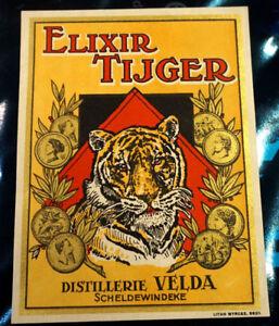 Etiquette Elixir Tijger - Distillerie Velda Scheldewindeke