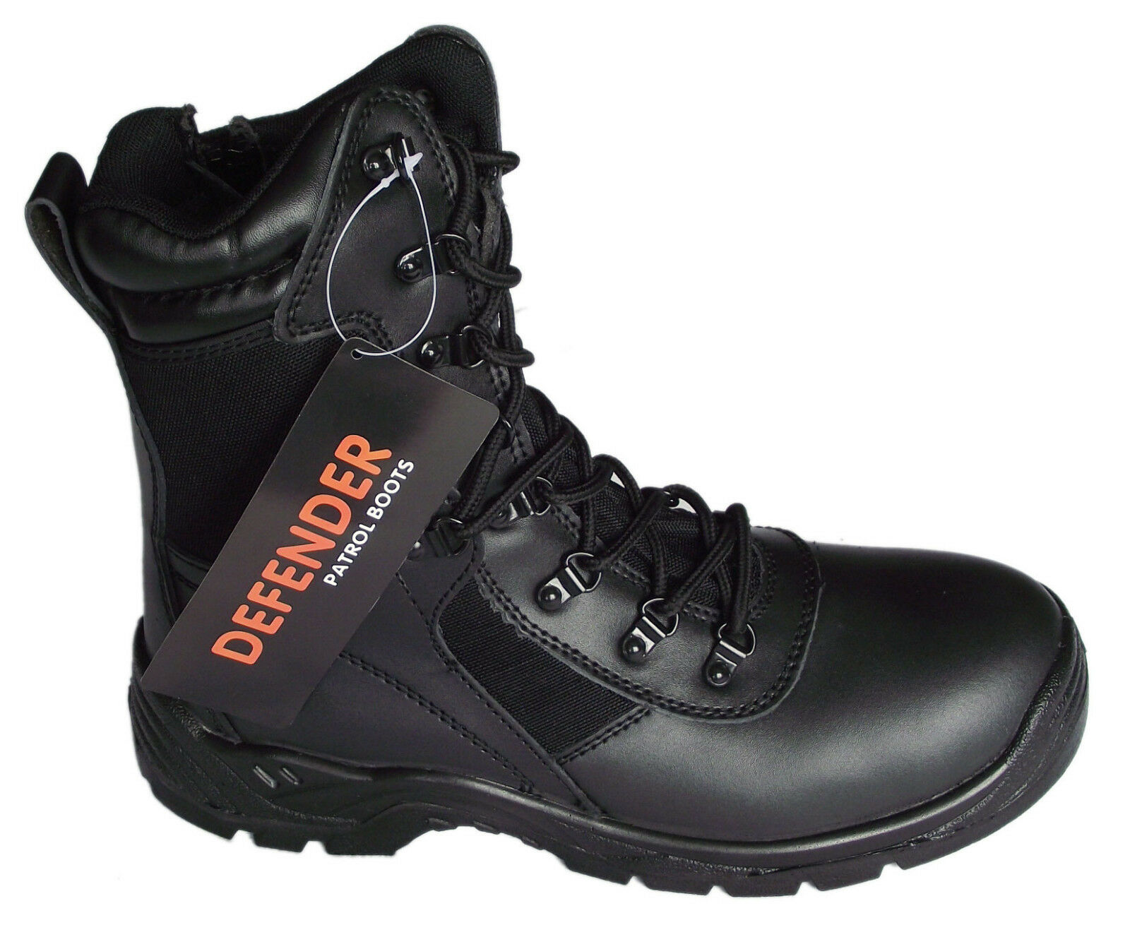 NEW SNOW BOOTS MILITARY BLACK LEATHER ZIP COMBAT WALKING SIZE 7 8 10 13 RRP