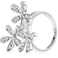 Rhodium Plated Ring W/ Flower Bouquet Design & Crystals By Matashi (size 6) on sale