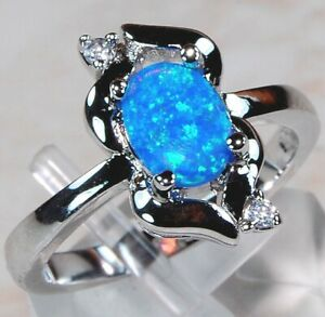 Australian-Opal-Inlay-amp-White-Topaz-925-Sterling-Silver-Ring-Jewelry-Sz-9-OR-1