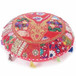 18'' Round Pink Cushion Cover Patchwork Vintage Home Decor Handmade Pillow Cover