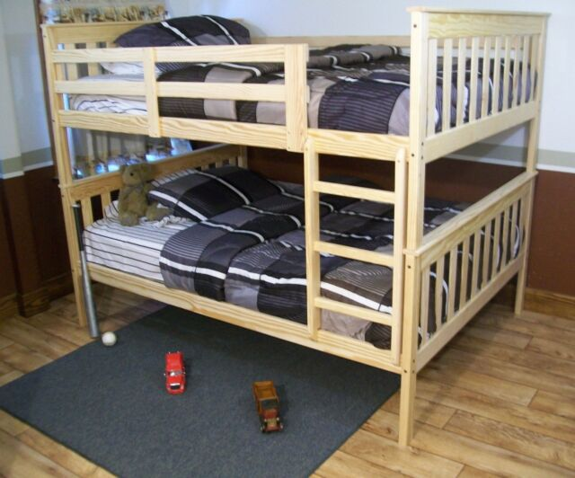 MISSION STYLE TWIN OR FULL BUNK BEDS *Naturally Unfinished*  AMISH MADE in USA