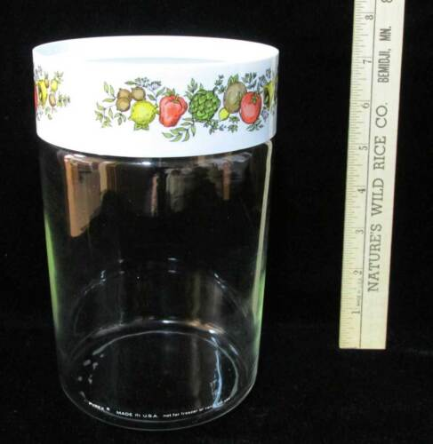 "Pyrex Canister Glass Spice of Life Vegetable Harvest Plastic Lid USA 7 14"" Tall"