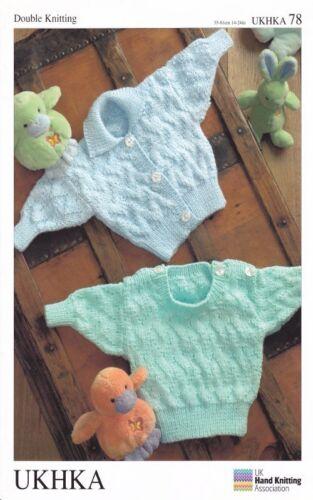 Baby DK Long Sleeved Ribbed Cardigan Sweater Double Knitting Pattern UKHKA 78