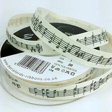 Berisfords Cream Fabric Musical Notes Ribbon 15mm Sold Per Metre