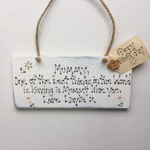 Personalised Mum Mummy Mam Happy Birthday Step Mummy Wooden Gift Sign  Plaque