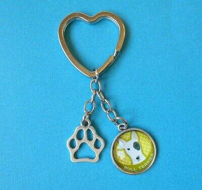 Bull Terrier Dog Charm Keyring Bag Key Ring Acrylic Bronze Tone English Puppy