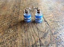 earrings Tea Coffee Cornish Ware Handmade Glass Bottles Gift  Cute Nickel Free