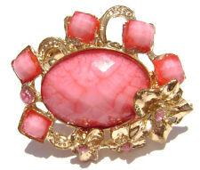 Vintage Retro Large Ring Ringstone Pink Flower Large Antiqued Silver Adjustable