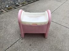 Vintage Little Tikes Pink Baby Doll Bassinet Cradle Crib Changing Table
