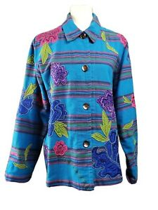 Chico-039-s-size-2-flower-applique-jacket-blue-stripes-artsy-folk-art-style