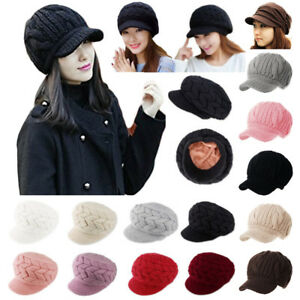 White-Womens-Winter-Wool-Hats-Beanies-Slouchy-Plush-Cotton-Caps-Sale