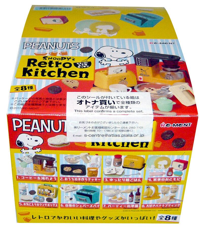 Raro 2015 re-ment Snoopy cocina retro conjunto completo de 8 piezas