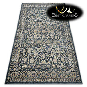 NATURAL WOOL Rugs NAIN Ornament frame beige navy vintage exclusive best carpets
