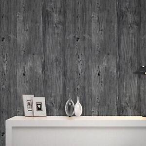 Papier-Peint-9-5M-3D-Bois-Bois-Theme-Rouleau-Rustique-Panneau-Bois-Motif-Gris