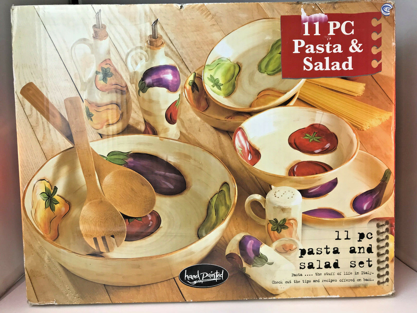 Table Tops Unlimited 11 PC Pasta & Salad Hand Painted Veggies Stoneware Set New