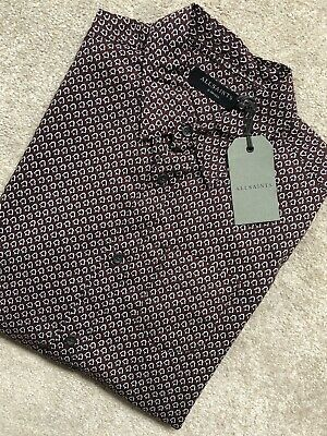 """ALL SAINTS OXBLOOD /""""DEAUX/"""" FITTED PATTERNED S//S  SHIRT XS S M L NEW TAGS"""