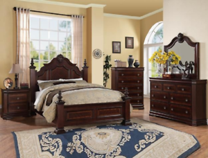 Details about NEW 4-POST Brown Queen or King 5PC Bedroom Set Traditional  Furniture Bed/D/M/N/C