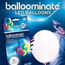 WHITE LED Balloons - White LED light up balloons - 5 Pack - All Occasions