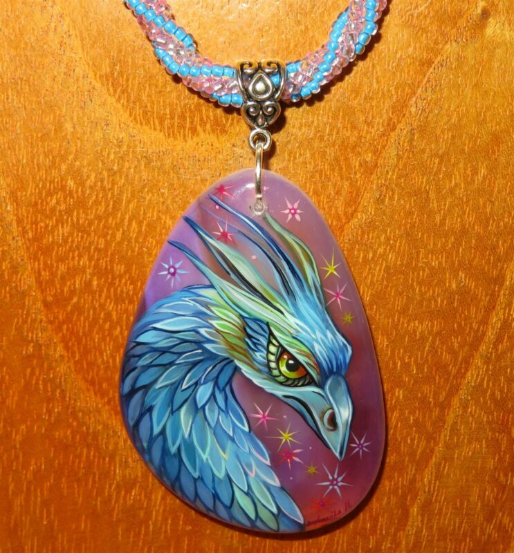 Occamy Pendant Fantastic Beasts Hand Painted Beaded Necklace Blue Purple Dragon
