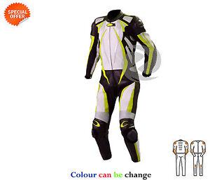 amarillo-y-Blanco-Perforado-Traje-de-cuero-motocicleta-de-una-sola-pieza-MOTO-GP