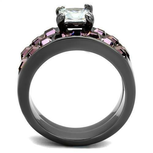 His Hers Black Stainless Steel Princess Pink CZ Wedding Engagement 3 pc Ring Set