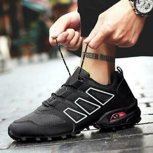 Mens Outdoor Hiking Athletic Shoes Lace Up No-Slip Trainers Running Sneakers