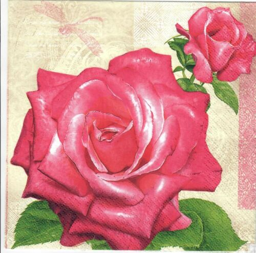 Pink roses design.Perfect for decoupage-16 4 Single paper decoupage napkins