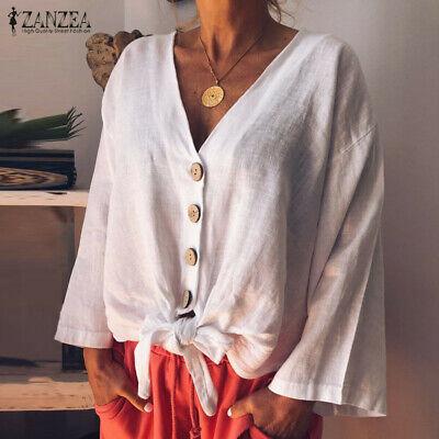 ZANZEA Women Buttons V Neck Shirt Tops Casual Plain Loose Blouse Long Sleeve Top