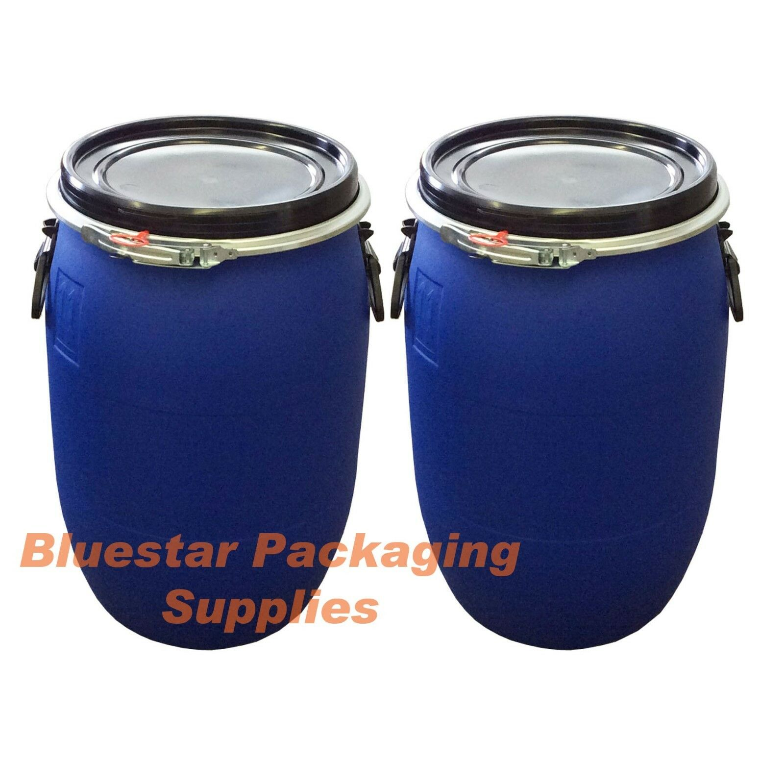 2 x 60L Litre Open Top Plastic Storage Drum Barrel Keg With Lid Food Grade New