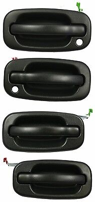 Set of 4 Outside Door Handle Textured Black 99-07 Silverado Avalanche Sierra