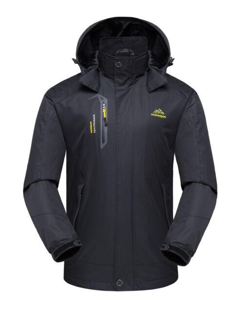 Men Windproof Hooded Zip Warm Coat Snow Rain Jacket Outwear Outdoor Clothes NEW