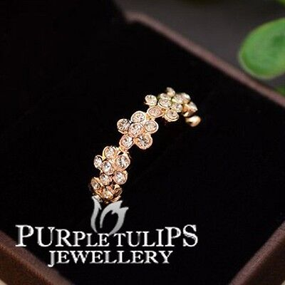 18CT Rose Gold Plated Sparkling Flowers Ring W/ Genuine SWAROVSKI Crystals
