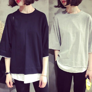 Fashion-Women-Korean-Casual-Short-Sleeve-Girl-039-s-T-shirt-Loose-Blouse-Tee-Tops