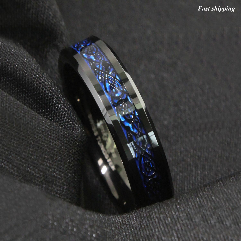 Carbide New Blue Fiber Sz Jewelry Band Black Steel Carbon Dragon Ring Tungsten