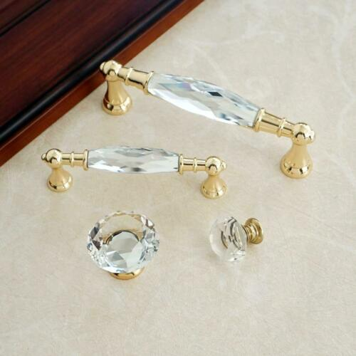 "3.78/"" 5.0/"" Glass Dresser Knobs Gold Drawer Pulls Crystal Cupboard Handle Pull"