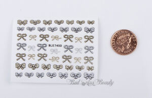 50-Gold-Silver-Glitter-BOWS-3D-Nail-Art-Stickers-DecalsTransfers-Decoration