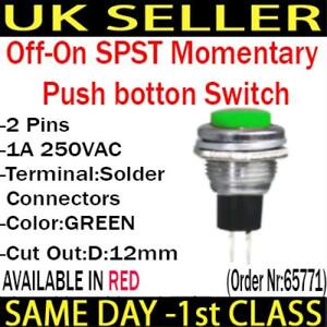 2P SPST Momentary Push Button Switch 1 Circuit 1A 250V off-on
