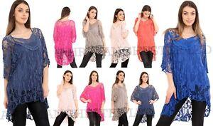 NEW LADIES ITALIAN LAGENLOOK LACE CROCHET MESH TUNIC TOP VEST TWIN SET Size14-20