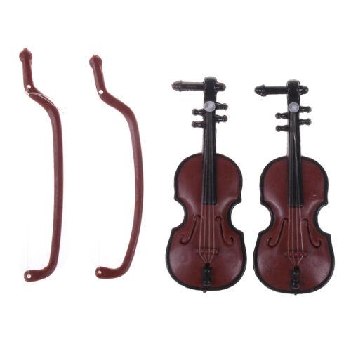 2pcs plastic mini violin dollhouse decorative music instrument crafts diy  X
