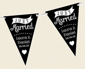 personnalise-Ardoise-bunting-Just-Married-D3-Banniere-decoration-Marriage-Noir