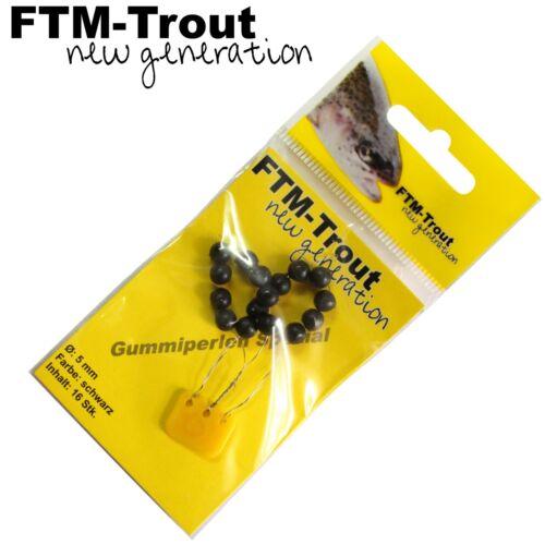 FTM New Generation Gummiperlen 5mm schwarz Sbirolino Gummistopper 16 Perlen