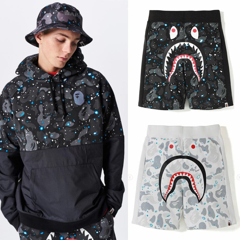 2019 S S A BATHING APE Men's SPACE CAMO SHARK SWEAT SHORTS Pants 2color New