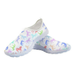 Slip-On-Casual-Shoes-Womens-Flat-Breathable-Sneakers-Walking-Animal-Points-Comfy