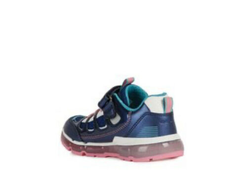 New season Geox J Android Girls Trainers,Navy with Switchable Flashing Lights