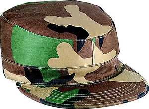 Details about Woodland Camouflage Map Pocket Rip Stop Military Patrol  Fatigue Cap 8a716467cb24