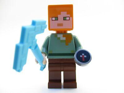 LEGO Minecraft Alex Diamond Pick Axe Minifigure 21129 Compass Mini Fig